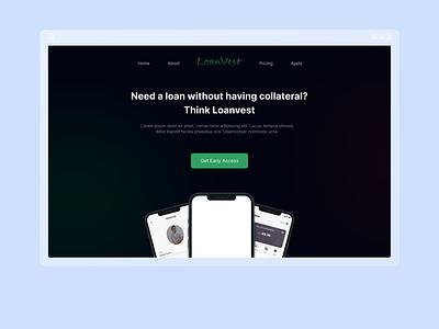 Loan service landing page design mobile design ux design ui design loanvest dark mode loan website landing page