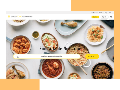 African Food Incorporated Landing Page design app ui ux