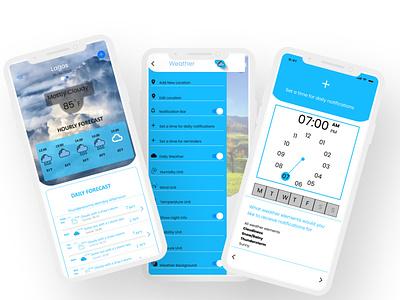 WEATHER APP minimal illustration ui app ux design