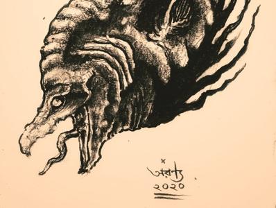 Chitala Chitala macabre traditional art pencil pencil drawing illustration