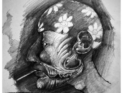 Slave macabre pencil drawing pencil traditional art illustration