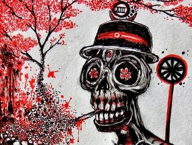 Death: Tarot traditional art macabre pen pen drawing illustration