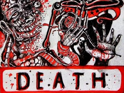 Death: Tarot II pen drawing pen macabre traditional art illustration