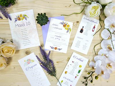 Wedding Stationery invitations money envelope table number schedule cocktails ranunculus roses wedding stationery