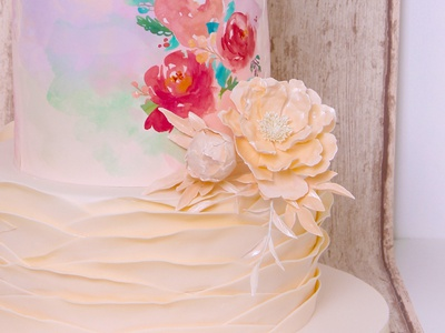 Wedding Cake sugar sheet ranunculus flower pattern wedding cake