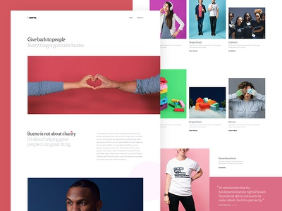 Bueno.co 💝 heart charity color photography thumbnail form quote grid hero