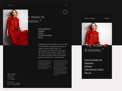 Elena Iv-Skaya - About fashion black and white typography clean photography portfolio