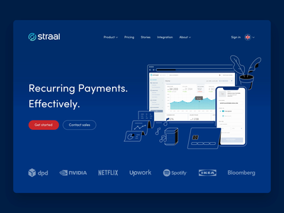 Straal 2020 Website homepage illustration payments saas clean webdesign animation header fintech webpage landingpage landing