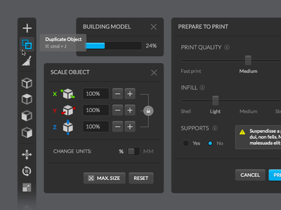 3D Printing Software dark layout interface software printing 3d