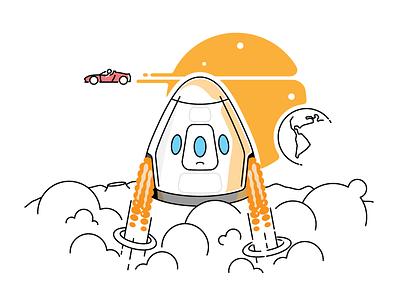 Dragon V2 🚀 starman illustration icon lineart flat moon landing mars dragon roadster tesla spacex