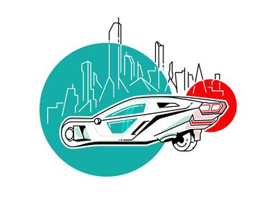 Blade Runner Car city futuristic sci-fi future lineart stroke skyline rover car 2049 runner blade