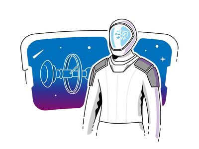 Out of Space 👩🚀 star lineart stroke icon galaxy suit window spaceship spacestation spacex hud astronaut