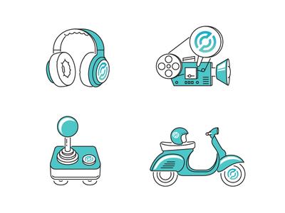 🎧 🎥🕹🛵 illustration stroke icon share cinema payments vespa pad joystick camera headphones