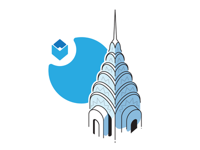 Chrysler Building art deco nyc skyscraper isometric building landmark location illustration icon york new architecture