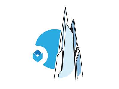The Shard icon isometric landmark building stroke architecture london