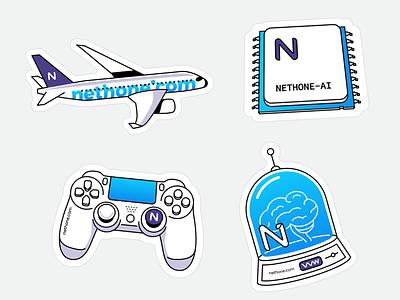 Stickers! learning machine ai jar brain dualshock playstation pad processor plane travel jet