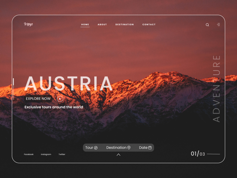 Landing Page:Travel Agency typography adventure ecommerce nature tour mountain landing agency web trip travelling travel homepage website design ux ui