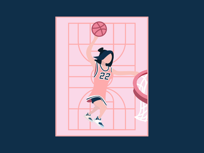 Hello Dribbble! court blue pink girl sporty basketball dunk