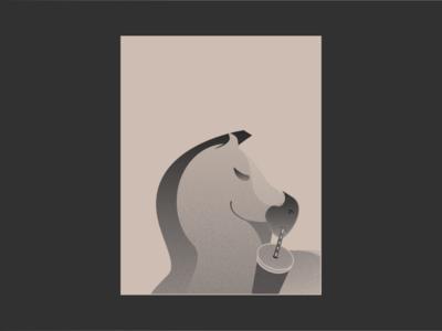 Horsechata spice pony beige stippled cinnamon sip straw drinking horchata horse