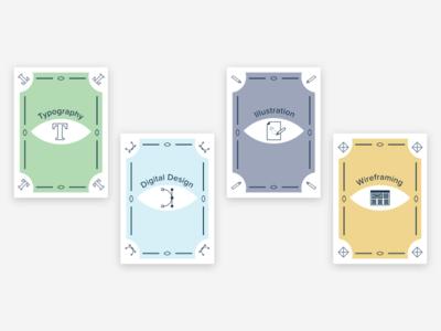 Skill Tarot Cards eggplant skillz that killz wireframing illustration digital design typography card tarot card designer skills icons