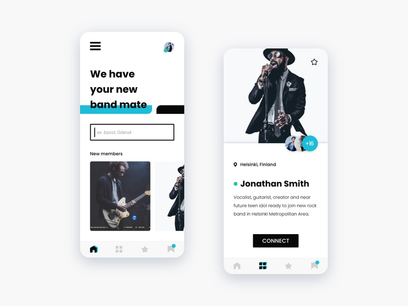 Mobile App UI Concept - Bands and musicians search app contrast bold blue mobile application mobile ui mobiledesign mobile minimalui minimal band music minimalism adobexd ui ux dribbble design