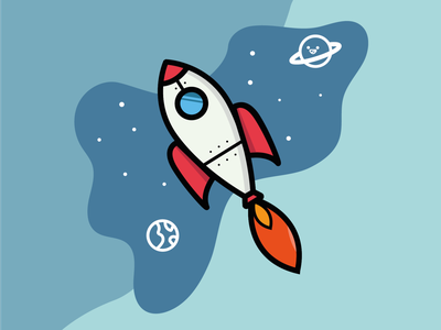 Aim for the stars 2d rocketship colorful illustrator illustraion planets space rocket