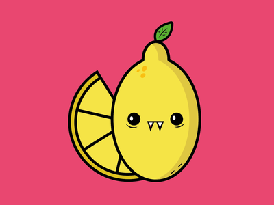 Vamplemon colorful flat minimal illustration adorable cute spooky season vampire lemon lemon vampire halloween spooktober