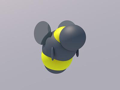 Bee low poly illustration c4d 3d