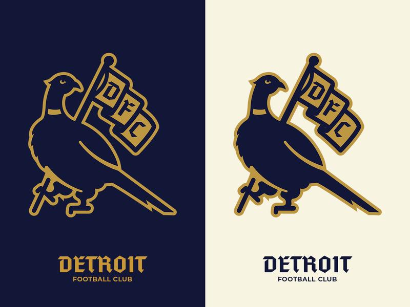 Detroit FC Pheasant Logo detroit football logo soccer digital illustration logo logo design vector illustration branding illustration typography graphic design