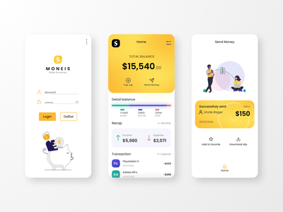 Moneis Money Management App - UI Design Exploration ui transaction money management expense income uidesign finance