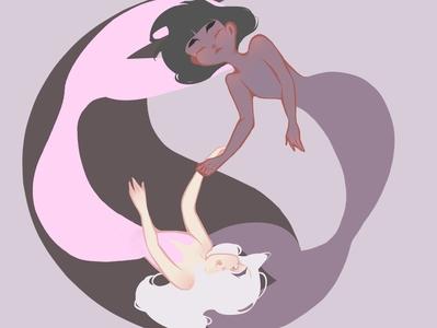 Yin Yang yinyang pink purple mermaid drawing vector logo picture illustration design digitalart cartoon