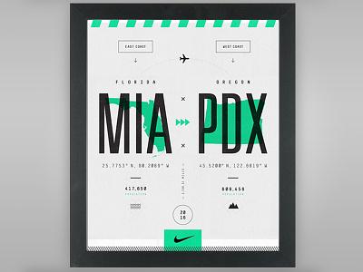 Miami x Portland travel branding pdx mia portland miami poster design