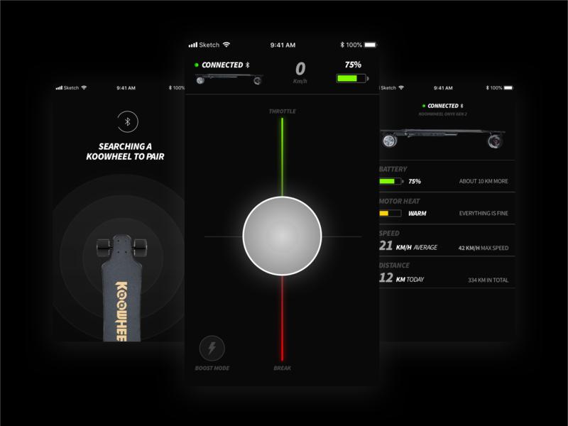 e-Board Controller app – Concept concept darkmode sketch app controller longboard eboard