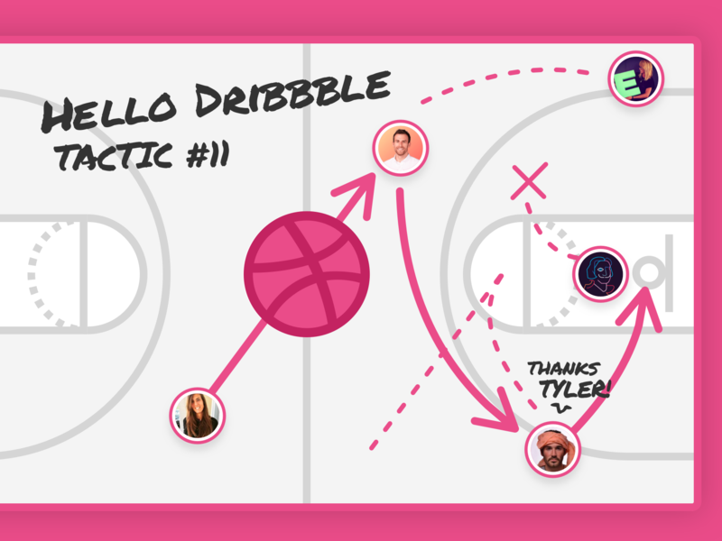 Hello Dribbble! basketball whiteboard tactic debut