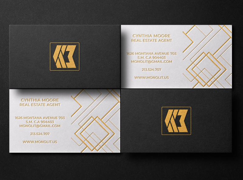 Professional business cards design fiol real estate letterpress foil stamp branding black logo minimalist business cards professional