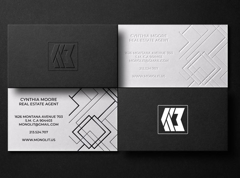 Professional business cards design real estate texture professional letterpress foil stamp branding black logo business card design minimalist business card