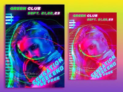Professional flyer design modern glitch neon discount logo professional design flyer