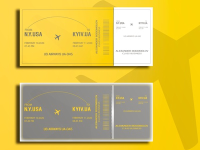 Professional air ticket design ticket gray yellow real estate letterpress foil stamp branding logo business card minimalist