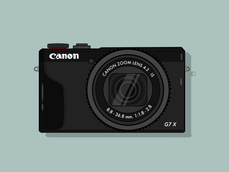Canon G7X vector illustration flat design