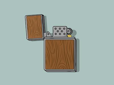 Wood Zippo Lighter flat vector illustration design