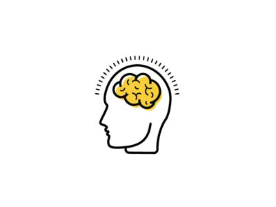 Brain art line head icon brain