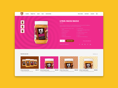 Food Product Page swirls cards web food product design