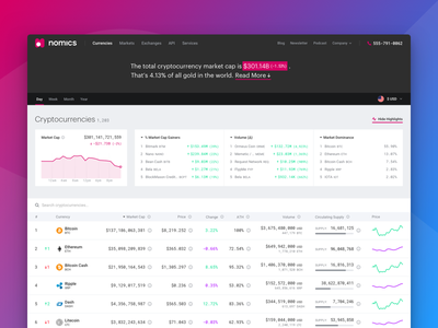 Crypto Home data table crypto currency nomics homepage web design crypto