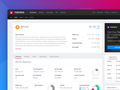 Crypto Token Details data nomics bitcoin crypto currency statistics detail page crypto