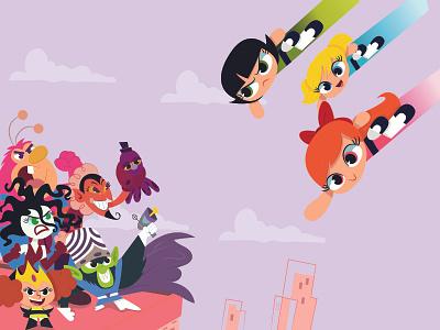 The Powerpuff Girls logo graphic design design animation vector illustrator illustration illustraion art