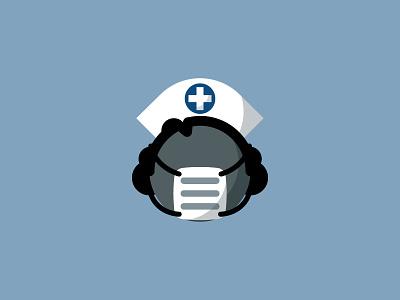 """Scalpel"" nurse doctor healthcare mask bold geometric icon nurse hat tyler stockdale"