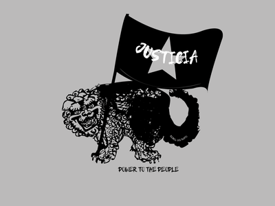 Power to the people - Jagua de la Justicia japan south america mythology dog vector illustration vector illustration