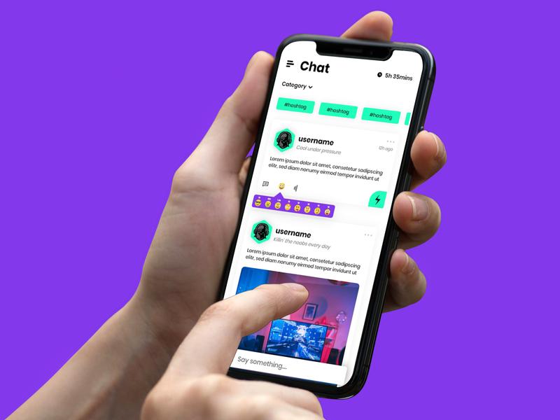 Player Three - Chat Feed Screen esports gaming design app design ux ui app