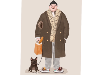 潮流老头和狗 trend old man and dog