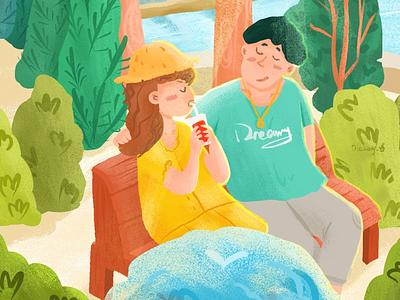 盛夏的气泡水 情侣,盛夏,插画,酷暑